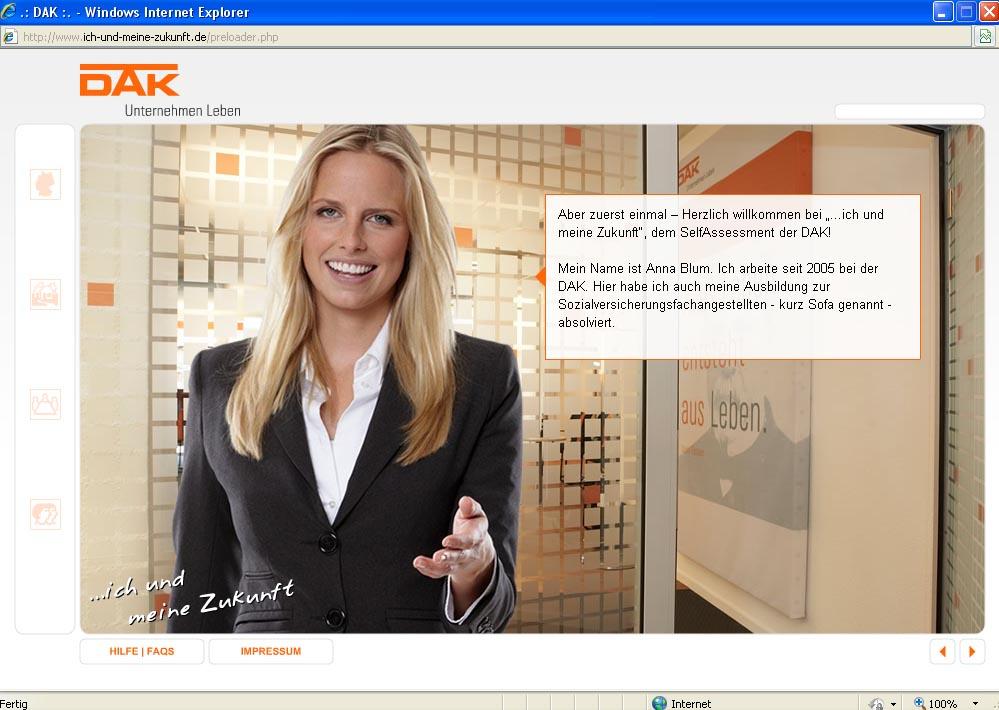 Beispiel Self-Assessment. Screenshot einer DAK Anwendung. Hier: Information über das Arbeitsfeld von Sozialversicherungsfachangestellten.