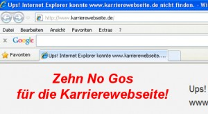 No-Gos Karriere-Webseite