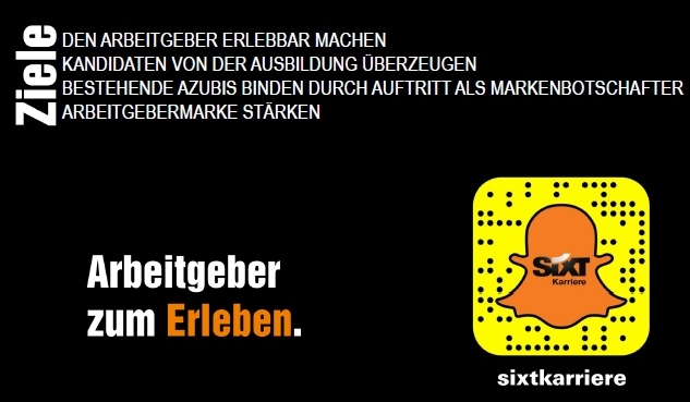 Ziele vom Sixt HR-Marketing auf Snapchat
